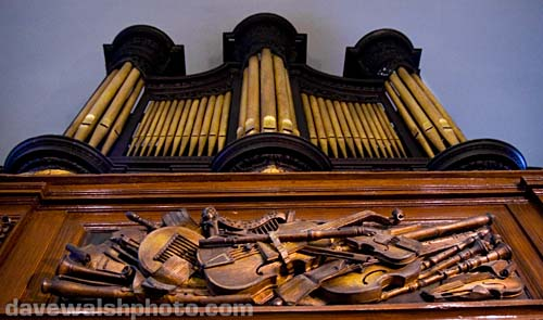 St. Michan's Church organ and carvings at  Dublin Ireland