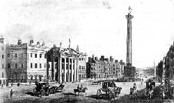 General Post Office and Nelson's Pillar  (engraving by the Brocas family 1820) - click to enlarge